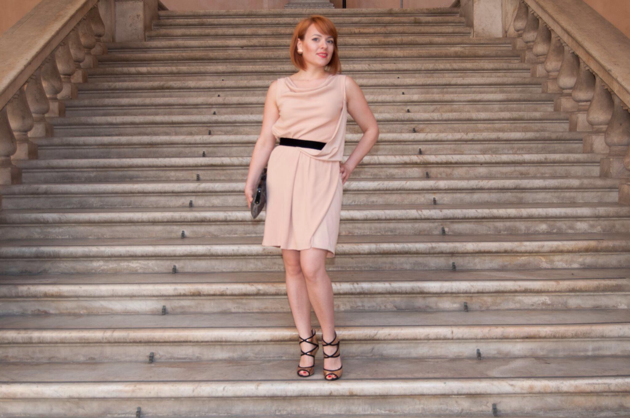 abito rosa cipria- pink dress- personal shopper genova